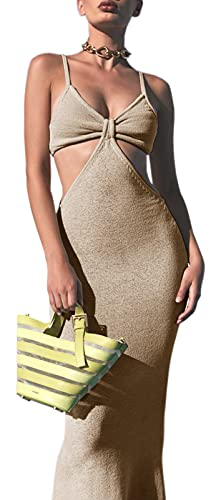 Womens Sexy V-Neck Maxi Knotted Dress, Cutouts Sleeveless Long Dress Beige Summer Outfits