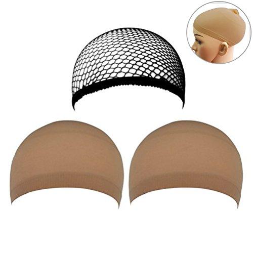 frcolor 3pcs perruque perruque Caps Nylon Mesh Casquette Netural nue Beige et Noir Mesh