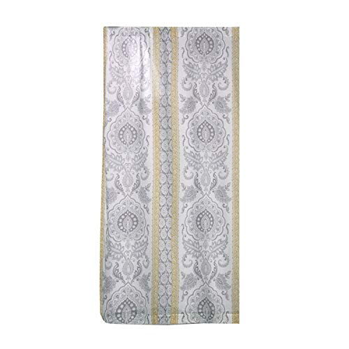 Levtex Home - St. Claire - Window Panel with Rod Pocket - One Curtain Panel 84 inch Length - Paisley Medallion - Grey, Yellow and Cream - 100% Cotton - Lined