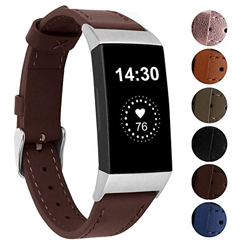 Genuine Leather Bands Compatible for Fitbit Charge 3/ Charge 3 SE/Charge 4 Bands, Classic Replacement Accessories Strap Genuine Leather Wristbands Metal Women Men Small Large Chocolate Brown