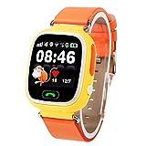 Luoshan OBTNL B11 gsm GPRS Localizador GPS Anti-Lost Smart Watch Tracker for iOS/Android, Cuero o Banda de plástico Entrega aleatoria (Rosa) (Color : Orange)