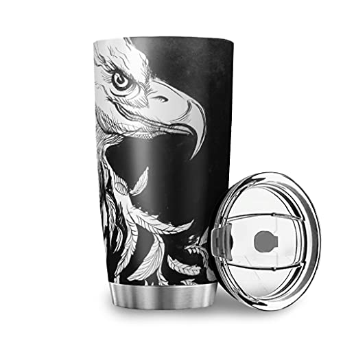 Harneeya Tumbler Black White Eagle Stainless Steel Coffee Tumbler Feather Cup for Hot and Cold Drinks 20oz White 20oz