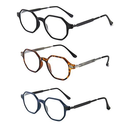 Leesbrillen voor Unisex Vintage anti blauw licht brilmonturen Achthoekige lens Bijziendheid optische spiegel Anti UV Clear Eyewear Frames voor mannen en vrouwen (3 stuks),+ 1.5