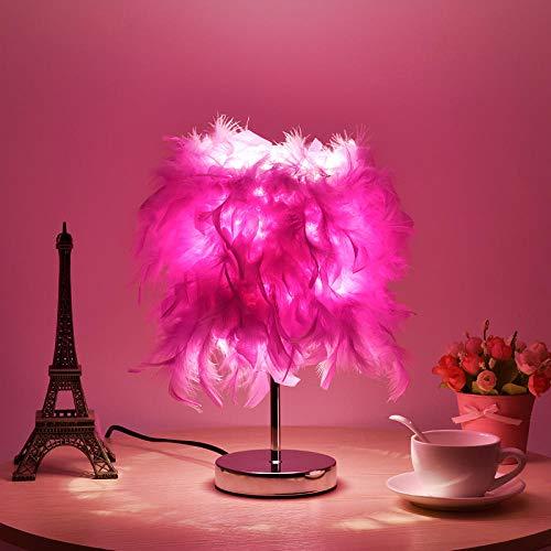 Lámpara de mesa de plumas dormitorio mesita de noche moda creativa romántica moderna simple regulable color cálido sala de bodas control remoto luz nocturna-Pequeño noble morado