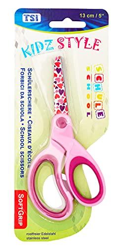 TSI 41804 Kinderschere mit Motiv auf den Scherenblättern, Größe 13 cm, Farbe pink 41804-Pink