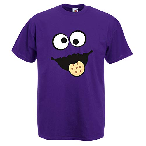 Shirt-Panda Herren Unisex T-Shirt Keksmonster Krümelmonster Gruppen Kostüm Karneval Fasching Verkleidung Party JGA Purple 2XL