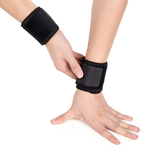 Wrist Compression Strap 2 Pack, Wrist Support, Future Way Adjustable Wrist Brace for Working Out, Weightlifting, Wrist Wrap and Widget for The Carpal Tunnel for Men and Women-Black