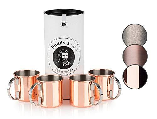 Buddy´s Bar - Moscow Mule Becher, 450 ml, hochwertiger Edelstahl-Becher, lebensmittelecht, Cocktail-Tasse inklusive Geschenkbox, Kupfer Poliert, 4er Set