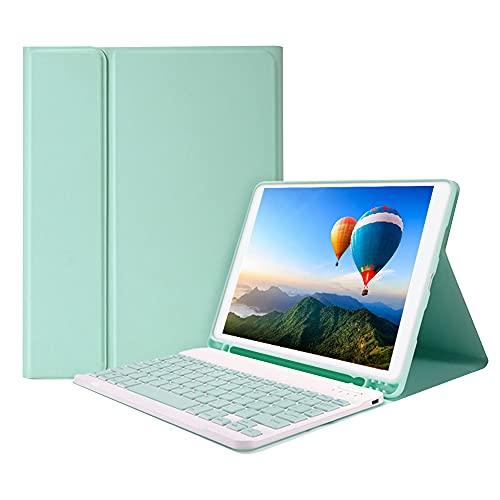 Tomshin Capa de teclado BT removível com slot de caneta elástica compatível com iPad Pro 10.5 / Air3 10.5 2019 / iPad 10.2 2020 verde
