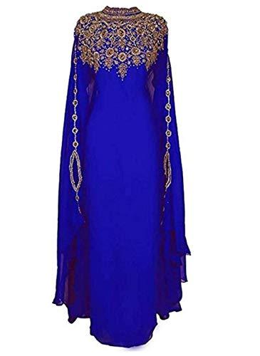 Mehreen Creation 2018 Ethnic Bridal Farasha Kaftan Modern Jilbab Arabian Islamic (Medium) Royal Blue