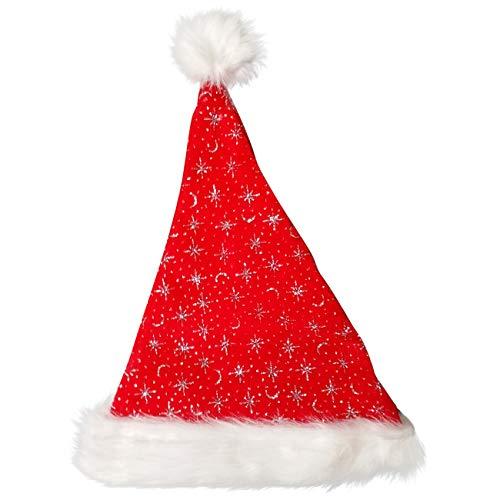Ciffre Weihnachtsmützen Mütze Nikolausmütze Weihnachtsmütze - Glitzer Rot