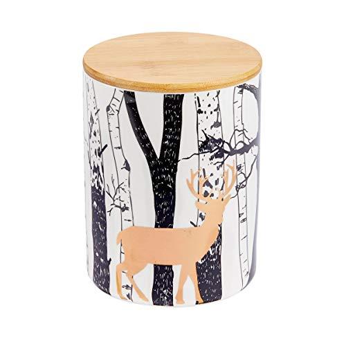 Pureday Keksdose Hirsch - Vorratsdose mit Holzdeckel - Keramik - Gold Schwarz-Weiß