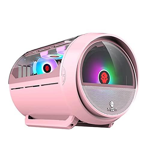 BBNB Caso De Juego, Caja De Juegos De PC De La Torre Mid-Tower M-ATX/ITX - Frente E/S USB 3.0 Puerto - Panel De Vidrio Templado De Vidrio-Agua De Enfriamiento De Agua. (Color : Pink)