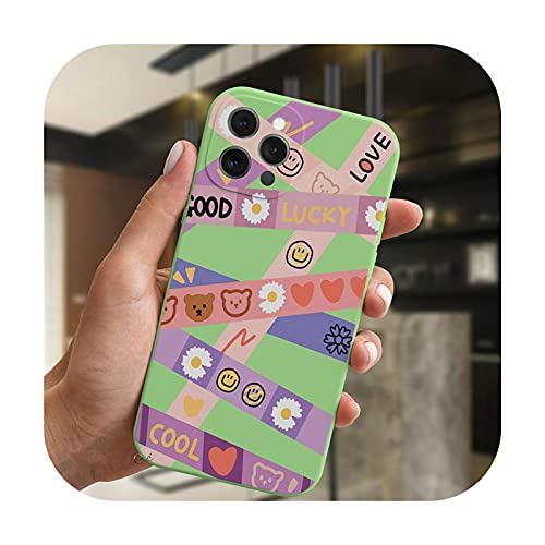 Moda lujo sonrisa oso etiqueta arte teléfono caso para iPhone 11 12 Pro XS Max XR X 7 8 Plus SE 2020 cubierta de caramelo suave silicona Coque-GreenMF-C4566-para iPhone XS Max