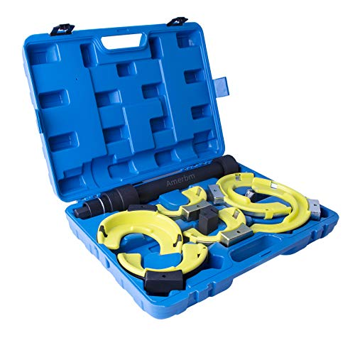 Amerbm Spring Compressor Tool Macpherson Interchangeable Fork Strut Coil Extractor Tool Set with Safety Guard and Carrying Case