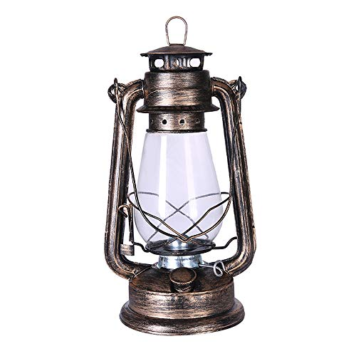 Petroleumlampe Alte Öl Lampe Altmodische Öl Lampe Petroleumlampe Retro Land Nostalgische Luft Licht Tragbare Licht Laterne Für Camping Stromausfall Notfall (Color : Bronze)