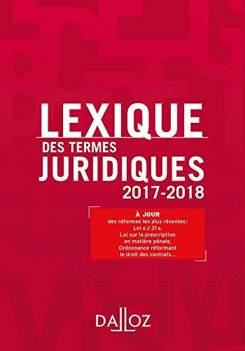 Lexique des termes juridiques 2017-2018