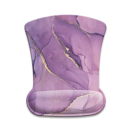 Mouse Pad with Wrist Support ,Ergonomic Mouse Pads for Wireless Mouse, Gel Computer Mouse pad Wrist Rest Non-Slip PU Base for Gaming, Office, Laptop -Purple Marble