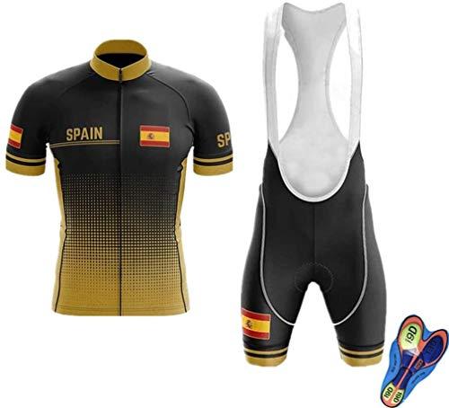 WOLFIRE WF Traje de Ciclismo para Hombre de Equipos. Culotte y Maillot. con 5D Gel Pad. para MTB, Spinning, Bicicleta de Carretera (M, España Gold)