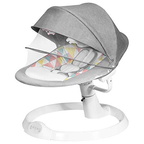 DREAMADE Elektrische Babyschaukel mit Fernbedienung, Babywippe mit 5 Schwingungsamplituden&3 Timing, Elektro Schaukelstuhl mit Musik USB Bluetooth, für Neugeborene 0-12 Monaten (Modell2-Grau)