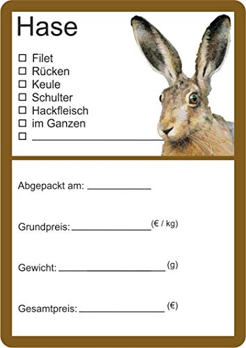 Etiketten zur Kennzeichnung von Wildfleisch verschiedene Motive 6 x 9 cm (25, Hase Vektor)