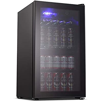 Joy Pebble Beverage Cooler and Refrigerator 90 Can Mini Fridge with Glass Door for Soda Beer or Wine Small Drink Cooler for Home Office or Bar (3.2 cu.ft)