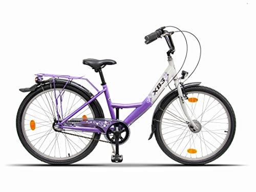 XB3 24 Zoll Damen-Mädchen-Kinder-Jugend-Fahrrad, Shimano Nabendynamo 3 Gang-Schaltung, Nabenschaltung, LED-Licht, Rücktrittbremse
