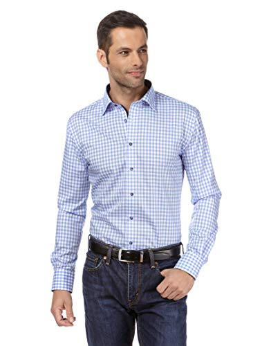 Vincenzo Boretti Camisa de Hombre, Corte Ajuste Recto (Regular-fit), 100% algodón, Manga-Larga, Cuello Kent, Lisa - no Necesita Plancha