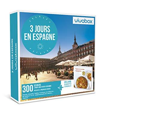 VIVABOX - Coffret cadeau - 3 JOURS EN ESPAGNE - Inclus 300 activités au choix + Un livre de recettes. Coffret d'activités valable 3 ans à partir de la date d'achat.