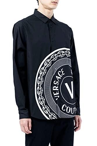 Versace Jeans Camisa negra con estampado de emblema en V de algodón de alta costura, Negro, Small