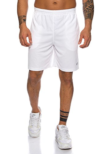 Raff & Taff Herren Shorts Bermuda Sportshorts Sporthose Funktionshose Traningshose schnell trocknend (Weiß, XL)