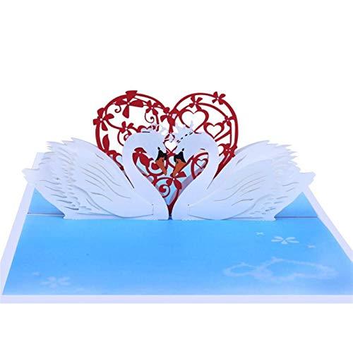 10 piezas de cisne corazón Origami estéreo 3D tarjeta de felicitación de la invitación de boda tarjeta de regalo de la fiesta de cumpleaños