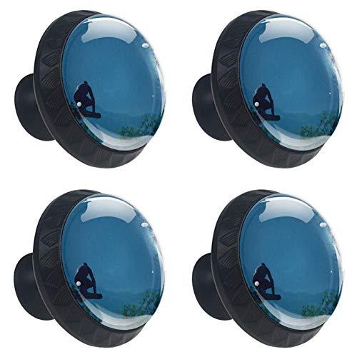 Bennigiry Lot de 4 poignées ergonomiques en verre cristal Motif Ancestors The Humankind Odyssey