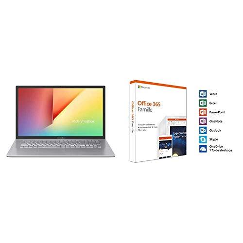 ASUS Vivobook S S712FA-AU588T Computadora portátil FHD de 17.3 '' (Intel Core i7-10510U, 16GB RAM, 512GB SSD, Windows 10) Teclado AZERTY francés + Microsoft Office 365 Inicio   Caja
