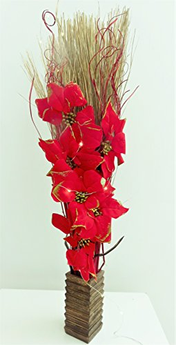 Light-Up Red Poinsettia Christmas Floral Arrangement. Artificial Silk Flowers and Indian Dried Grasses in Wood Vase. 20 FREE LED Lights and 3 FREE AA Batteries. Height: 95-100cm (3 Foot).