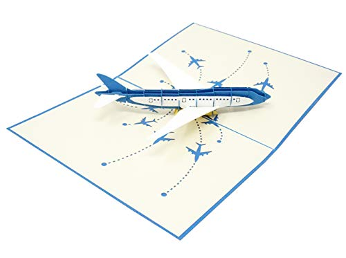Airplane - Wow 3D Pop Up Card for All Occasions - Birthday, Congratulations, Good Luck, Anniversary, Get Well, Love, Good Bye - Amazing Gifts for Family, Friends, Lovers - Fold Flat, Envelope
