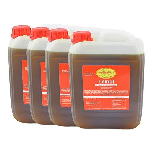 Horse-Direkt Premium Leinöl 40 L (4x10 Liter Kanister) Für Pferde, Hunde & Katzen- Leinsamenöl Kaltgepresst Zum Barfen Für Das Tier - Natürlicher Futterzusatz Zur Unterstützung