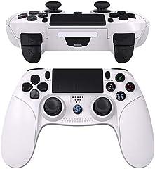 JOYSKY Mando Inalámbrico para Playstation 4,Controlador De Juegos Inalámbrico con Control De Vibración Dual del Motor De Doble Palanca para PS4 (Blanco)
