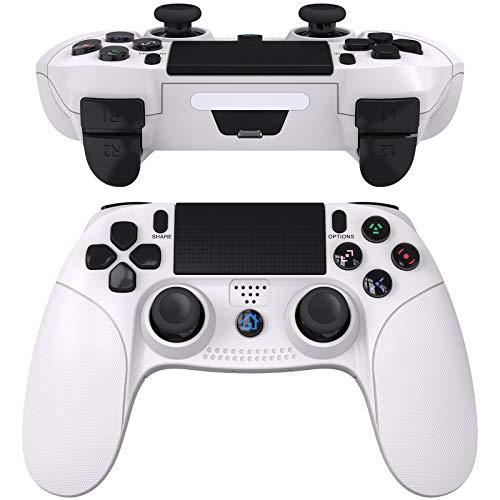 JOYSKY Controller per PS4,Senza Fili Controller per PlayStation 4,Bluetooth Gamepad con Doppia Vibrazione Ricaricabile Telecomando a 6 Assi Dual Vibration Shock e Presa Audio (Bianca)