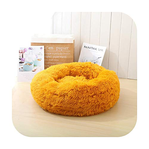Pet bed Nido de gato de felpa nido de perro extraíble cama circular para perro caliente cojín para mascotas Masticar a prueba de masticar cama de perro Suministros de perro de diámetro dorado 60