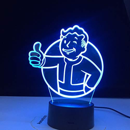 Juego Fallout Shelter Logo 3D Luz de noche LED para niños Decoración de dormitorio infantil Evento fresco Luz nocturna Lámpara de mesa USB colorida