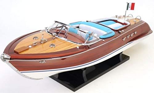 Casa Padrino Mahagoni Holz Speedboot Riva Aquarama Braun/Mehrfarbig 67,3 x 20,3 x H. 22,9 cm - Handgefertigtes Deko Modellboot Schiff Boot