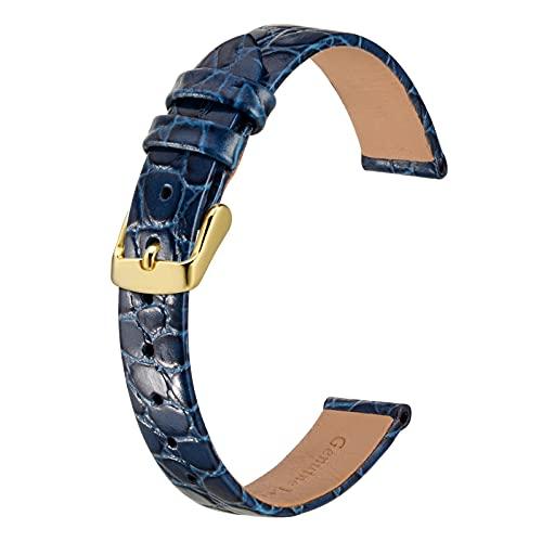 BISONSTRAP Cinturini per Orologi Donna, Cinturino di Ricambio Morbidi con Fibbia Iucida, 18mm, Blu con Fibbia in Oro