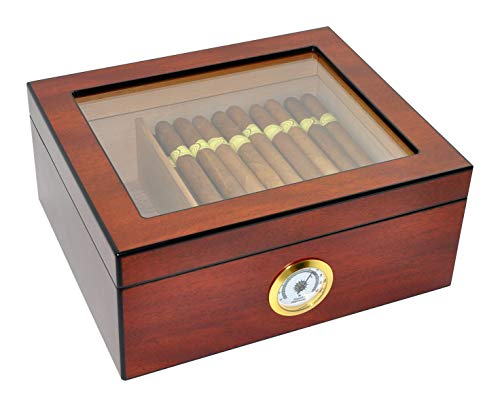 DUCIHBA Desktop Humidor Case Holds 25-50 Cigar, Tempered Glass Top Display, Handcraft Spanish Cedar Wood Storage Box with Divider, Humidifier and Hygrometer, Sapele Cherry Finish