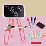 ROCKION Multifonctionnel Tableau Ardoise Magnetique d'enfant,Chevalet Double-Face avec Accessoires pour Enfants pour Jouet Educatif,Pink