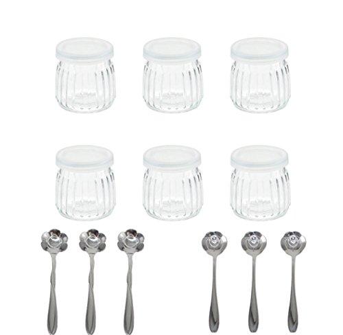 Tarro para yogurteras con cucharas de postre