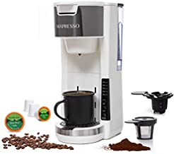 Mixpresso Single Serve 2 in 1 Coffee Brewer K-Cup Pods Compatible & Ground Coffee,Compact Coffee Maker Single Serve With 30 oz Detachable Reservoir, 5 Brew Size and Adjustable Drip Tray