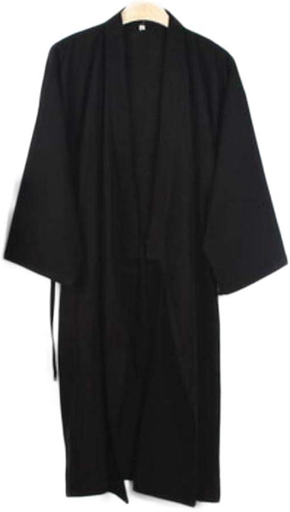 Japanese Style Men Thin Cotton Bathrobe Pajamas Kimono Gown Bathrobes Sleepwear-F04 Black