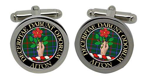 Aiton Clan écossais pour homme Écusson Chrome Boutons de manchette avec coffret cadeau