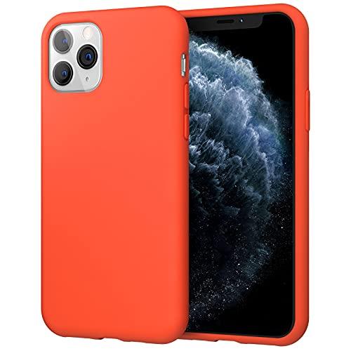 JETech Cover in Silicone Compatibile con iPhone 11 PRO, 5,8 Pollici, Custodia Protettiva con Tutto Il Corpo Tocco Morbido setoso, Cover Antiurto con Fodera in Microfibra, Rosso-Arancio